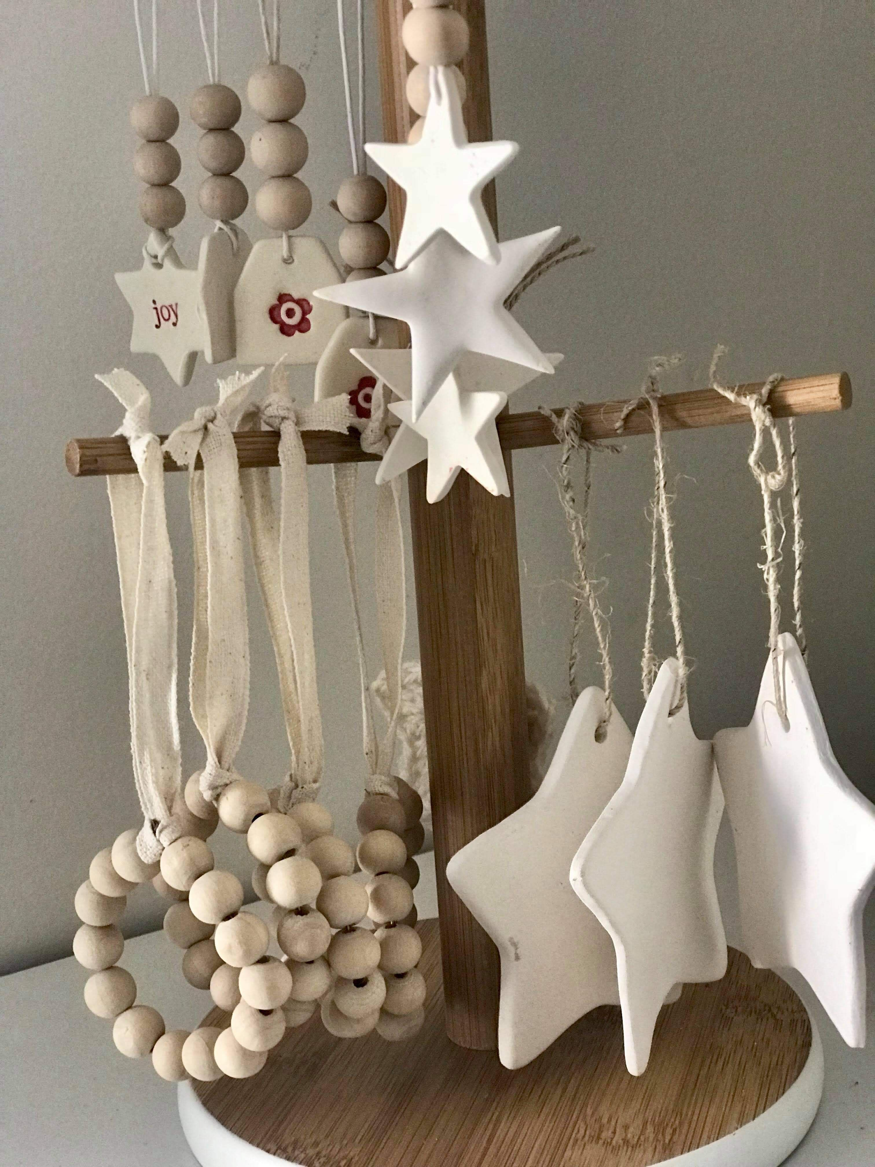 Wooden bead and clay Christmas decorations #diychristmasornaments