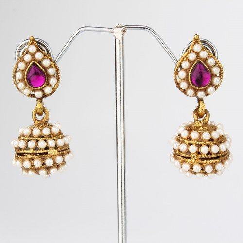 60b585015 Purple Leaf Pearl Jhumki Earrings. Buy online from www.craftsvilla.com # craftsvilla #jewellery #polki #pearl #earrings #india