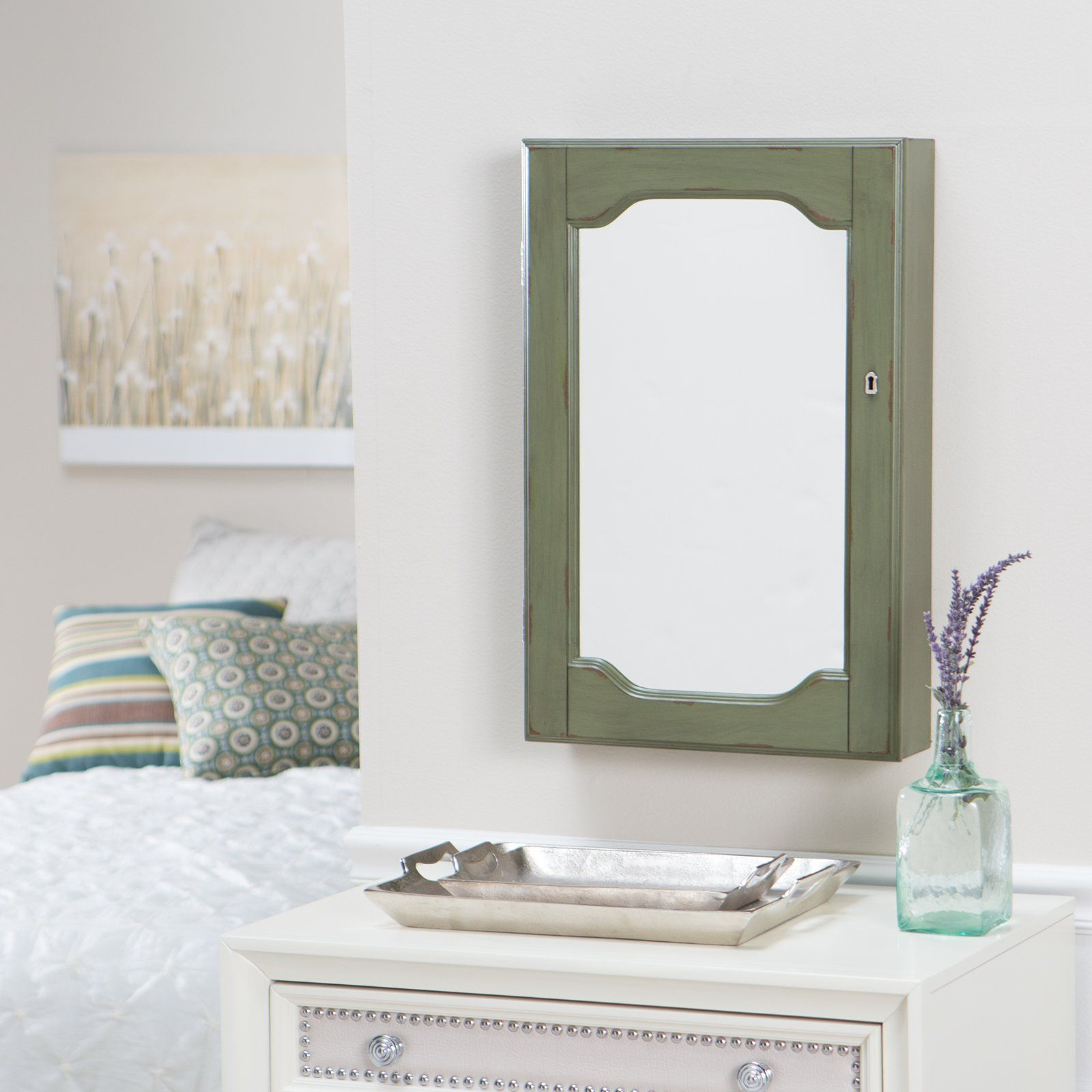 Have To Have It Distressed Wall Mount Mirrored Locking Jewelry