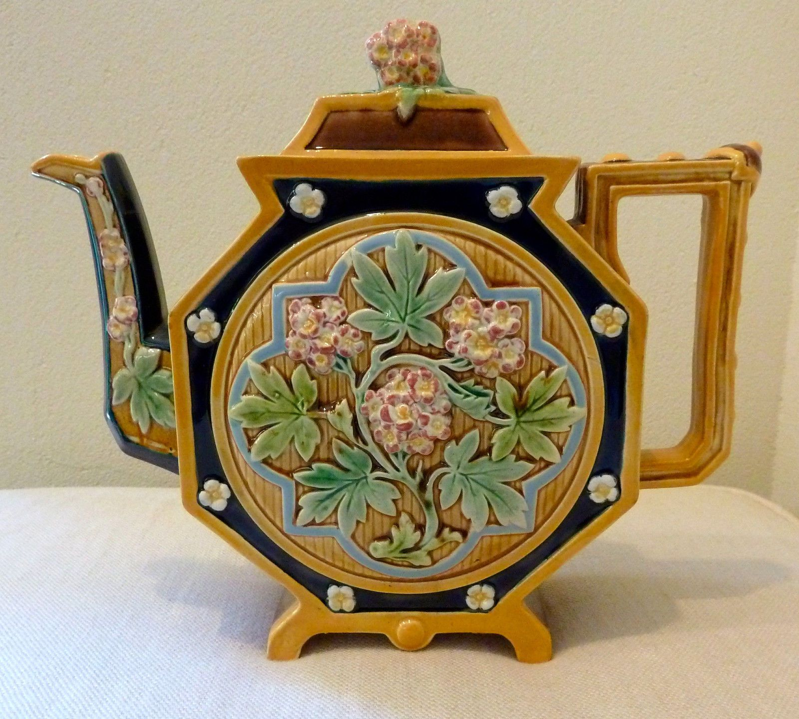 Antique Majolica T C Brown Westhead Moore Co Teapot Circa