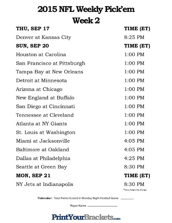image relating to Nfl Week 2 Schedule Printable titled Printable NFL 7 days 2 Routine Choose em Place of work Pool 2015 NFL