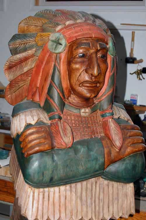 Life size hand carved wooden cigar store indian chief