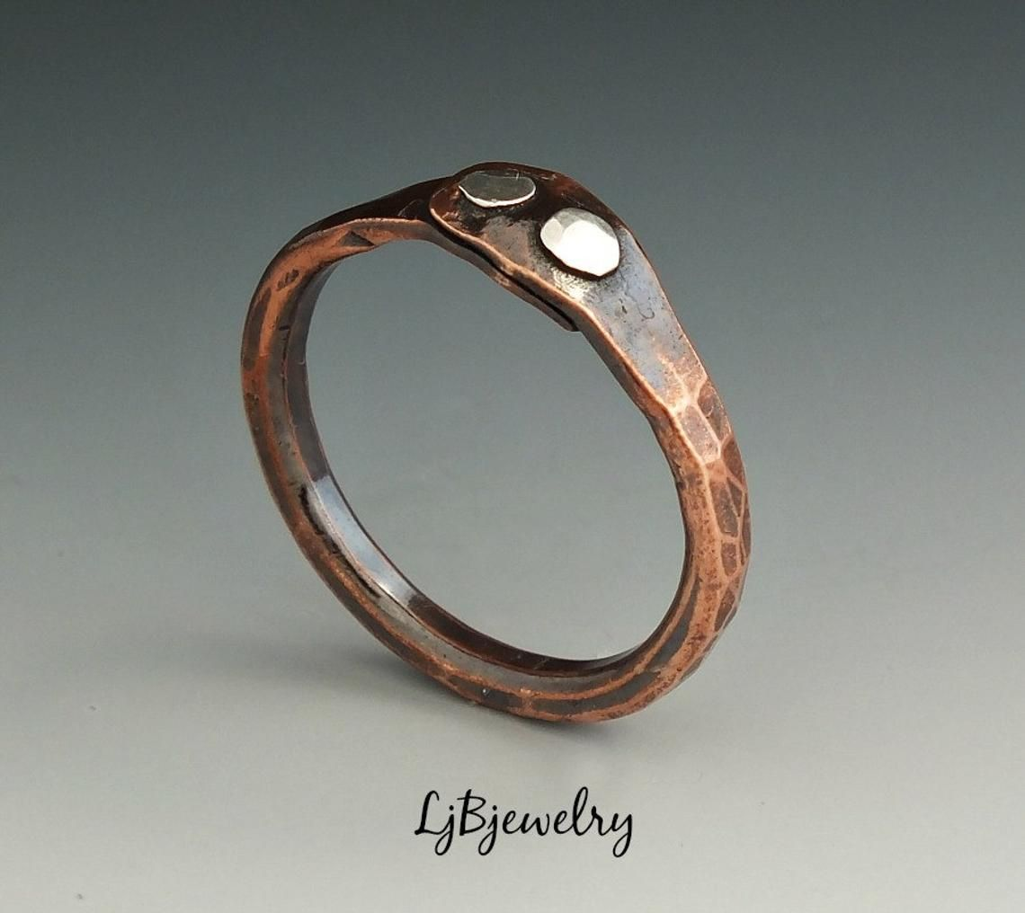Mixed Metal Stacking Ring Silver Copper Simple Stacking Band Rings Unisex Bands Ring Copper Ring Silver Ring Bands Minimalist Ring