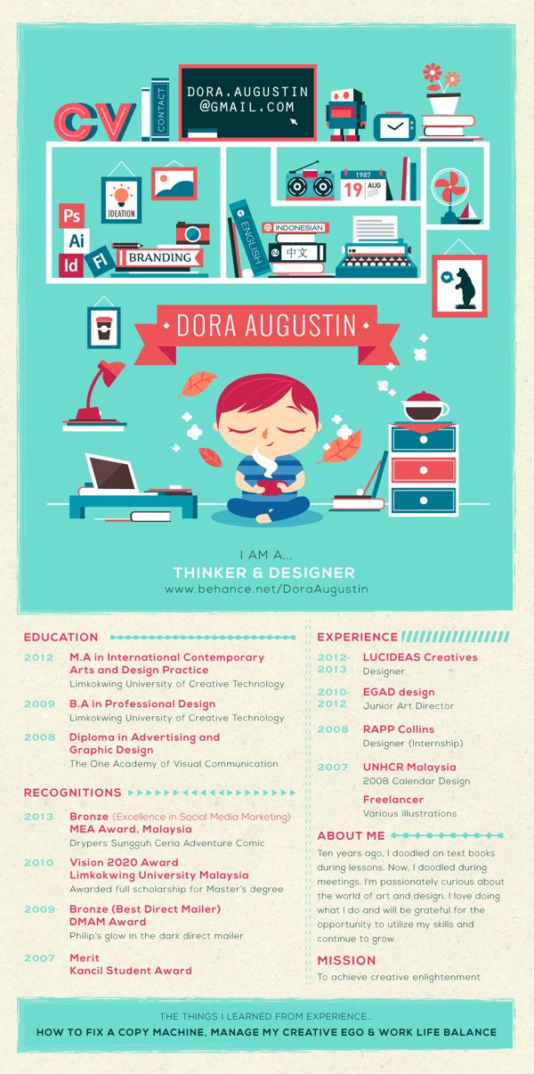 I Like The Use Of Color And The Way She Chose Illustration To Show Off Her Skills Creative Cv Creative Cvs Dora