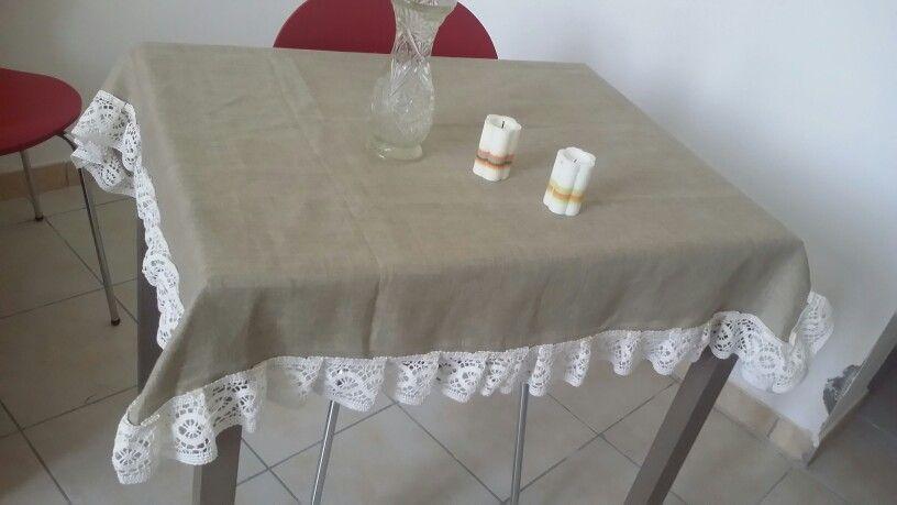 Copri Sedie ~ Copri tavolo in stoffa d puro lino e pizzo in cotone coordinabile