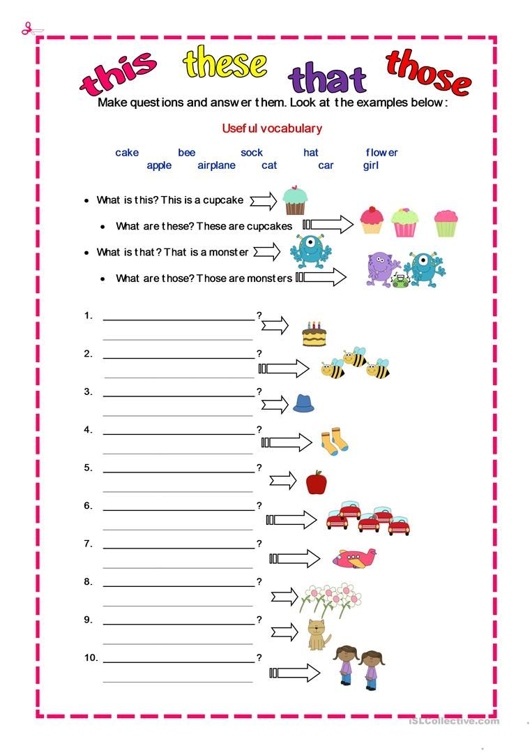 DEMONSTRATIVES - English ESL Worksheets   English grammar worksheets [ 1079 x 763 Pixel ]