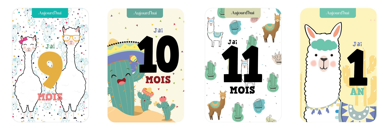 12 cartes étape bébé dune qualité exceptionnelle pour garder des souvenirs inoubliables de votre bébé, thème lama cactus par Omade