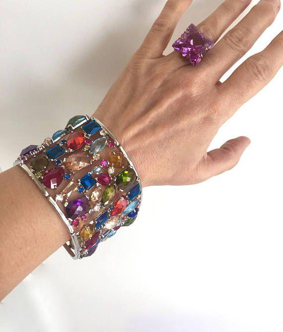 Gemstone bangle Multi gemstone bracelet cuff Tourmaline Bracelet Cuff