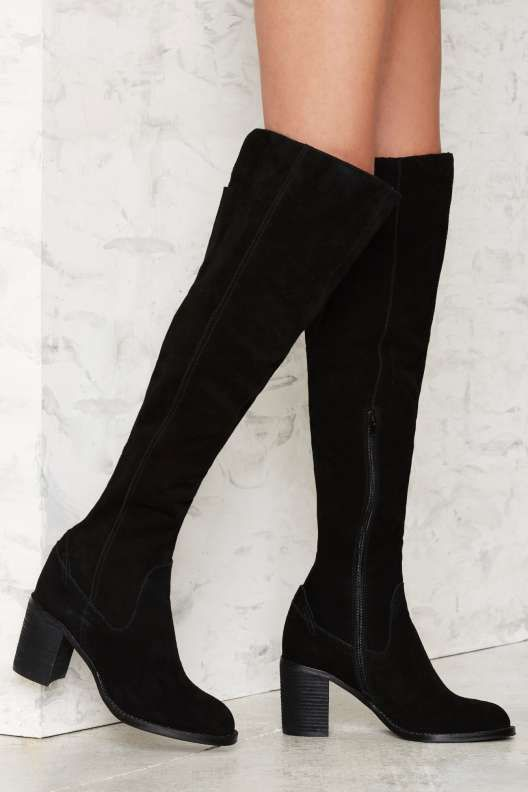 New Trendy Lfl Rascal Round Toe Suede Gray Over The Knee Boot Grey For Women Online Sale