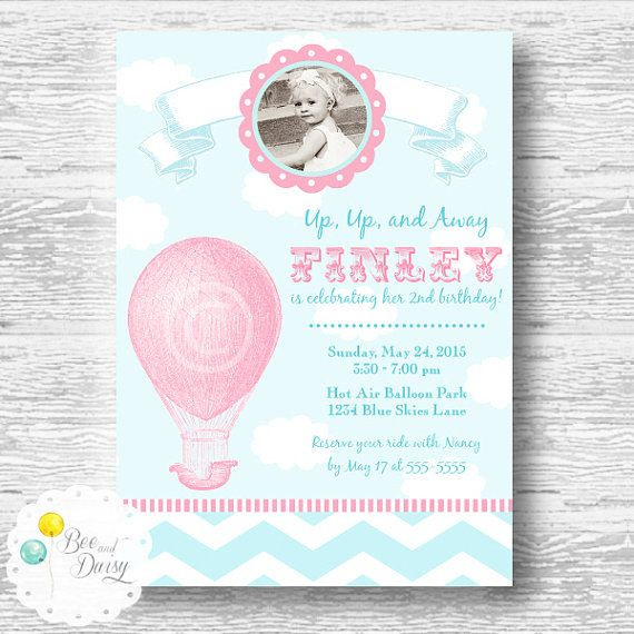 Vintage hot air balloon invitation for birthday party or baby shower vintage hot air balloon invitation for birthday party or baby shower girls diy pink printable filmwisefo Image collections