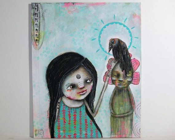 My SisterFromAnotherMother Micki Wilde always amazes me. Check her whimsical girl painting bird folk art mixed media