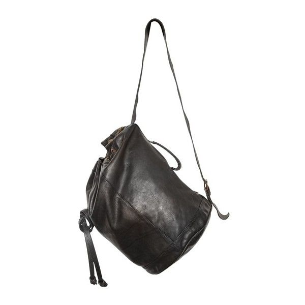 ANN DEMEULEMEESTER - LEATHER BUCKET BACKPACK (€655) ❤ liked on Polyvore featuring bags, backpacks, accessories, purses, borse, rucksack bag, bucket bag, leather bags, ann demeulemeester and bucket backpack