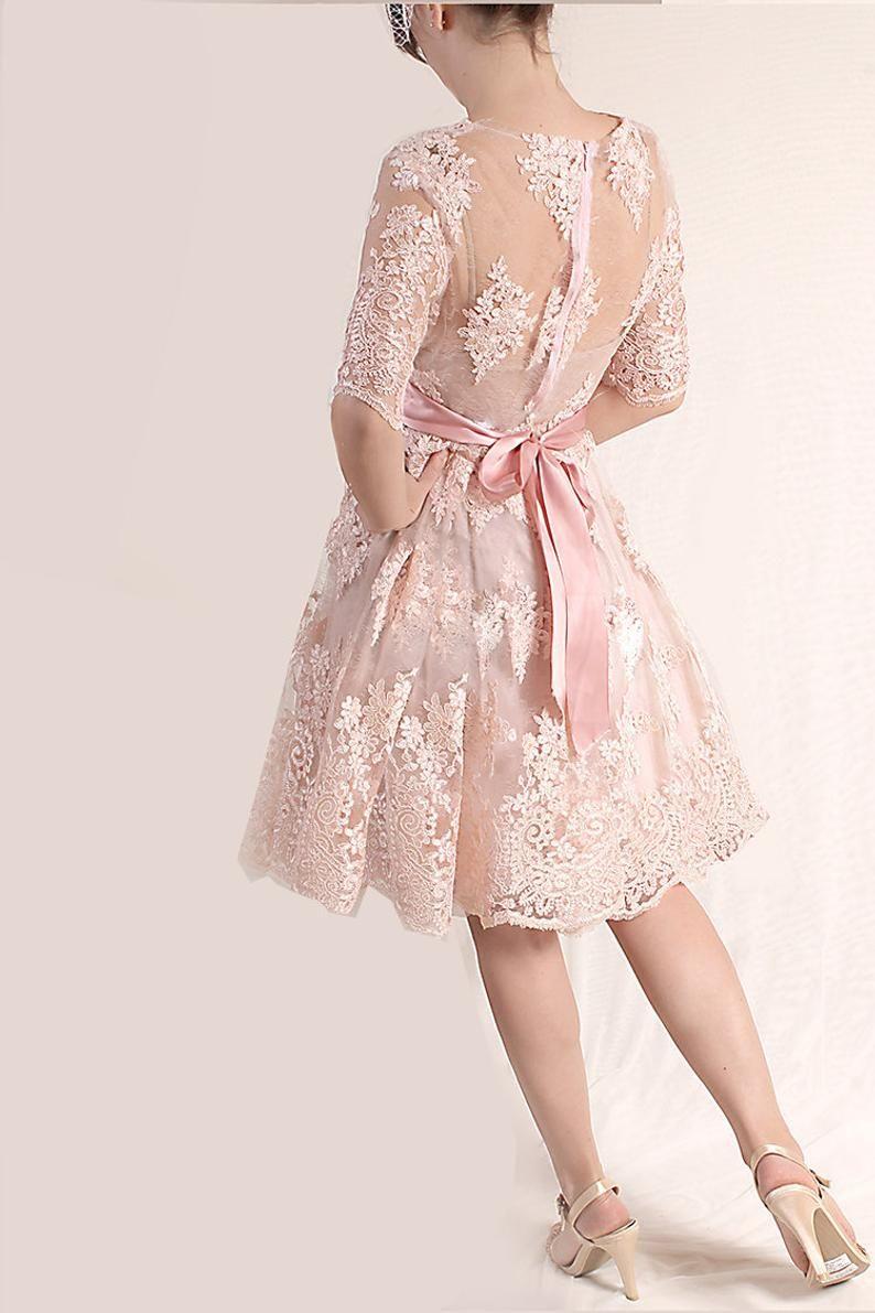 Bridesmaid Blush Pink Lace Dress Knee Length Wedding Party Etsy Short Lace Dress Blush Pink Lace Dress Lace Pink Dress [ 1191 x 794 Pixel ]