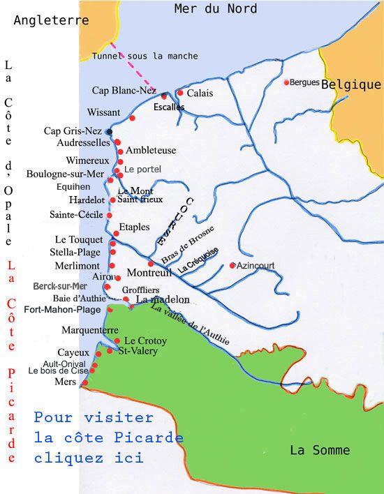 carte cote d opale et baie de somme Carte de la cote d'opale (avec images) | Baie de somme carte, Cote