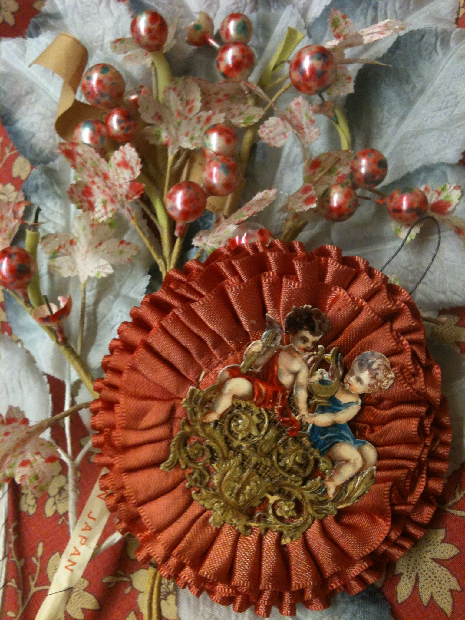 Christmas Ornament Victorian Merit Rosette And Vintage Millinery Trims
