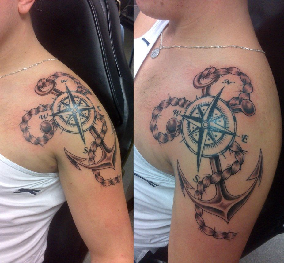 20 Awesome Anchor And Compass Tattoo Rope Tattoo Anchor