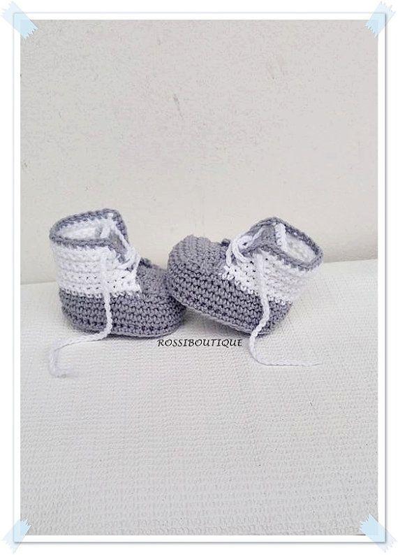 Zapatillas de bebé, recién nacidos zapatillas de ganchillo gris ...