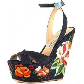 black denim wedge heel from Gianmarco Lorenzi featuring an open toe, blue buckle fastening ankle strap, a multicoloured embroidered detailr wedge heel.