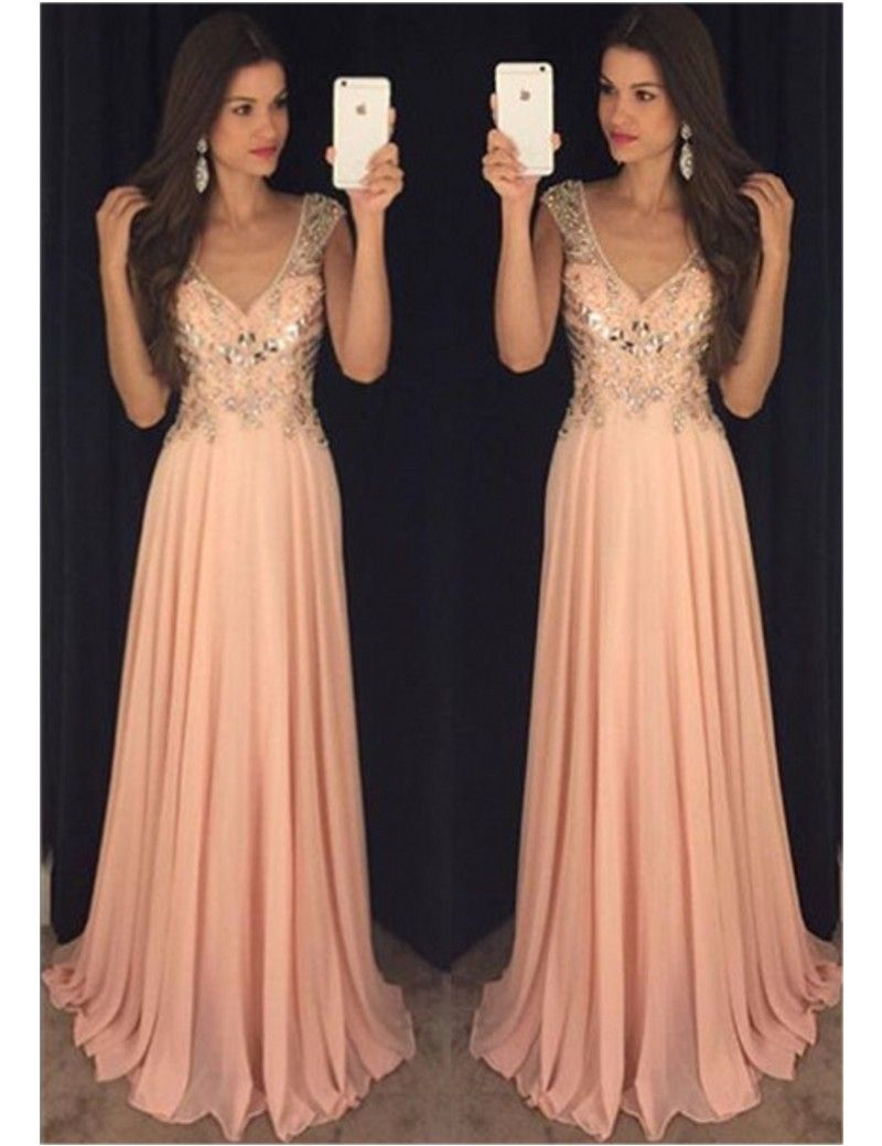 A line sleeveless v neck beaded rhinestones evening dresses chiffon