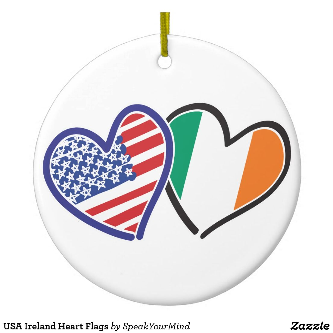 8647fd74aef USA Ireland Heart Flags Ceramic Ornament