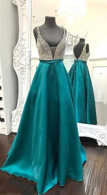 Backless Beading Satin Long Prom Dress ,Fashion Pageant Dress, School Dance Dress PDS0918 #schooldancedresses