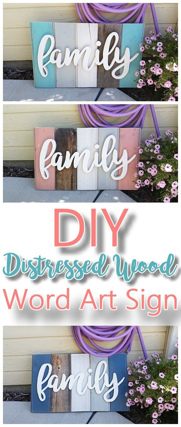 Newold distressed barn wood word art indooroutdoor home decor diy family word art sign woodworking project tutorial technique for new wood distressed to look solutioingenieria Gallery