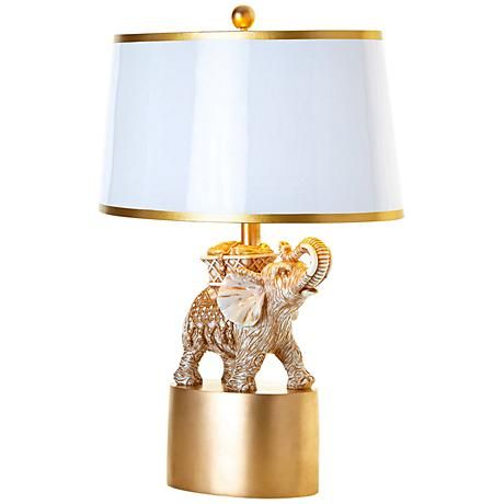 Couture India Elephant Gold Leaf Table Lamp