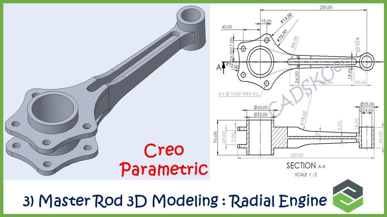 3 3d Modeling Master Rod Radial Engine Assembly Creo Parametric In 2020 Mechanical Engineering Design 3d Model Illustration Fashion Design