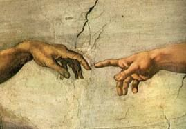 Michaelangelo - Detail from ceiling,  Sistine Chapel, The Hands of God and Adam