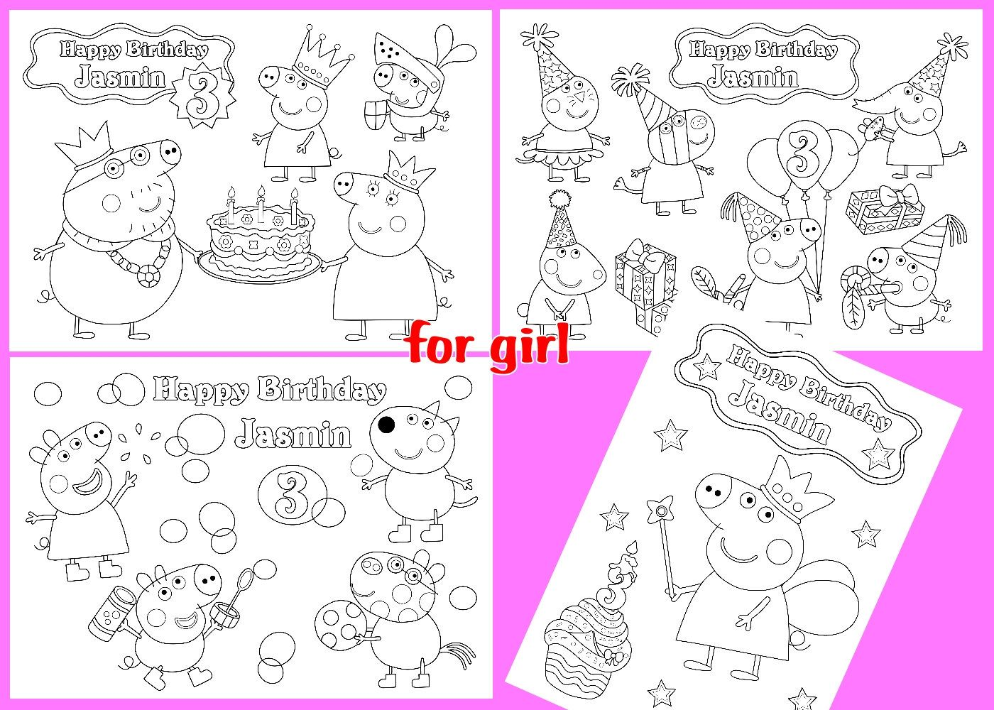 Peppa Pig Birthday Personalized coloring pages activity PDF file ...