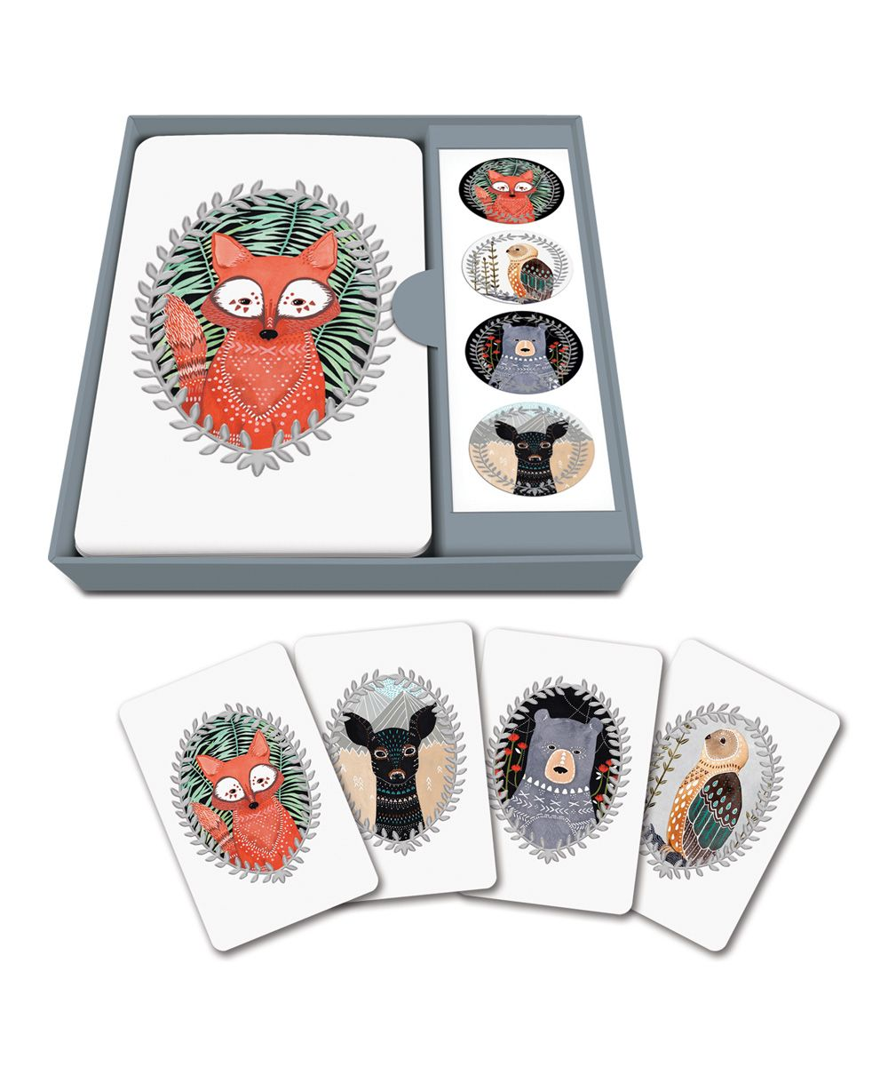 Woodland Creatures Note Card & Sticker Set
