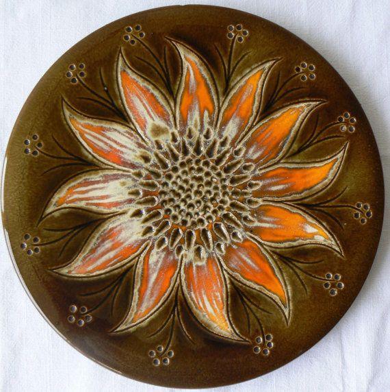 Large vintage sunflower French wall plate decoration hanging Perigord Pottery ceramics sunburst orange mid century ceramics