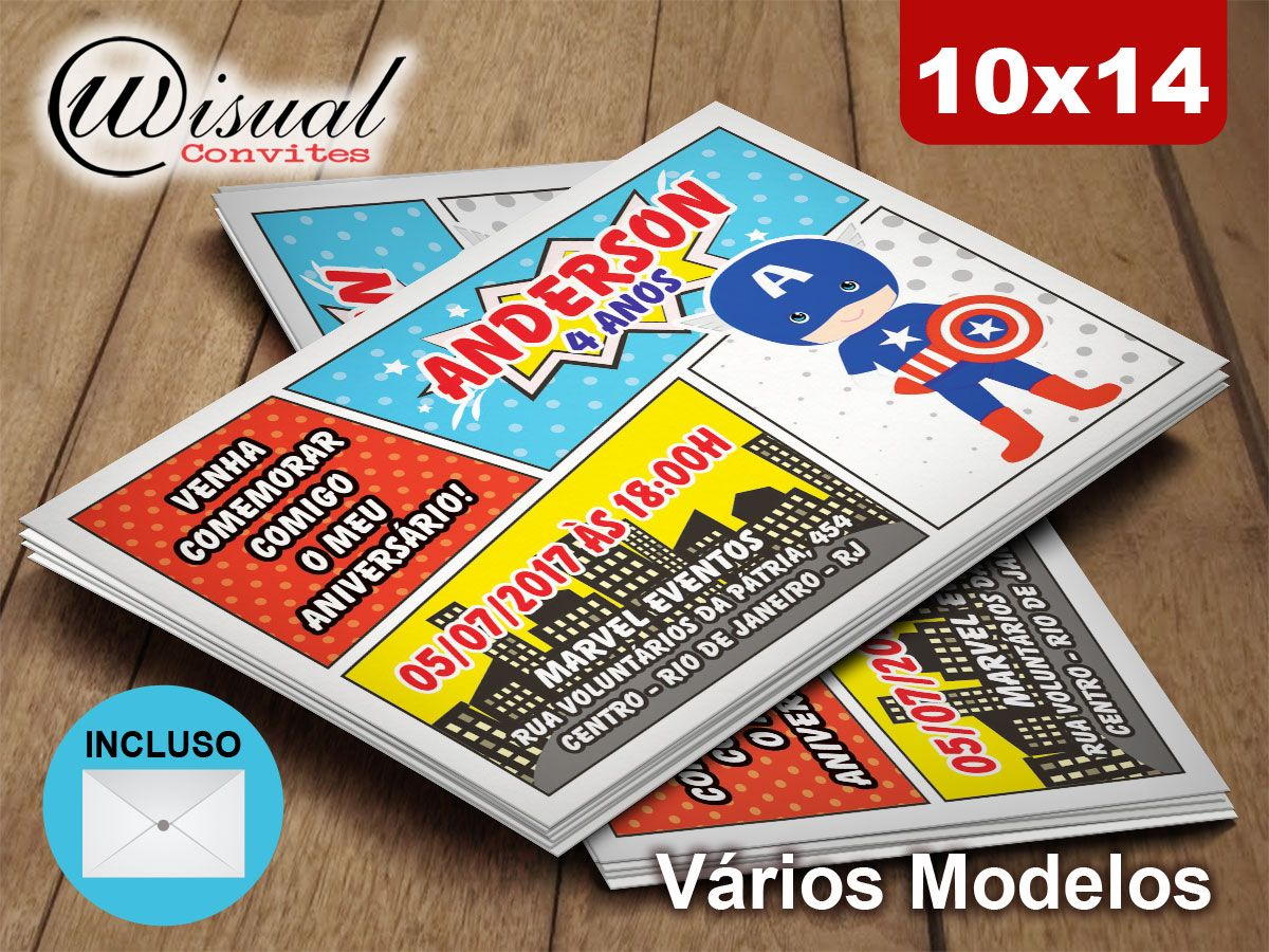 Wisual Convites - Convite Capitão América 10x14cm