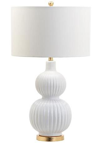Polistena White Ribbed Ceramic Gourd Table Lamp Table Lamp Lamp White Table Lamp