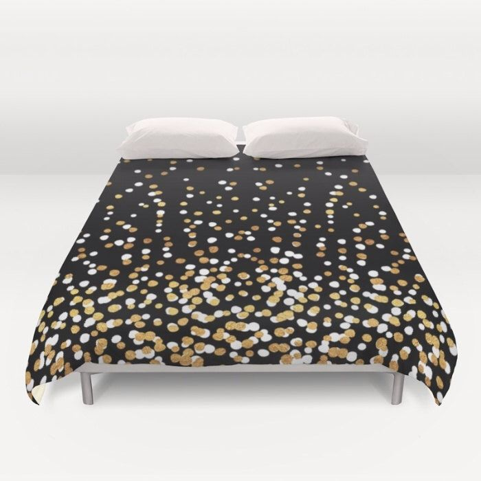 Duvet Cover or Comforter  Floating Dots  Gold Black and White  Twin XL Full Queen or King  Bedroom Bed is part of bedroom Aesthetic Bed - comforters are approximate  Dimensions may actually end up being slightly smaller based on stitching during manufacturing, and note that some mattresses may be slightly larger than standard for that size, and some customers prefer more or less overhang than others  So for a perfect fit on your bed, we recommend measuring your mattress and then calculating how much overhang you are hoping for so you know which size to buy! If the measurements are coming out closely, we recommend sizing up! Thank you!  Same price for either a Duvet Cover or a Comforter! DUVET COVER Lightweight ultra soft microfiber duvet covers  Design printed on one side and other side is left soft white  Hidden zipper for easy care  Machine washable  Includes duvet cover ONLY  duvet insert is not included  COMFORTER Our comforters are cozy, lightweight pieces of sleep heaven printed onto 100% microfiber polyester fabric for a soft, premium touch  Lined with fluffy polyfill  Machine washable with cold water gentle cycle and mild detergent   ORDERING NOTES Your duvet cover or comforter will be made to order and should take about 35 days to ship, then allow additional time for shipping based on destination  WANT TO CUSTOMIZE  Contact us to discuss custom orders