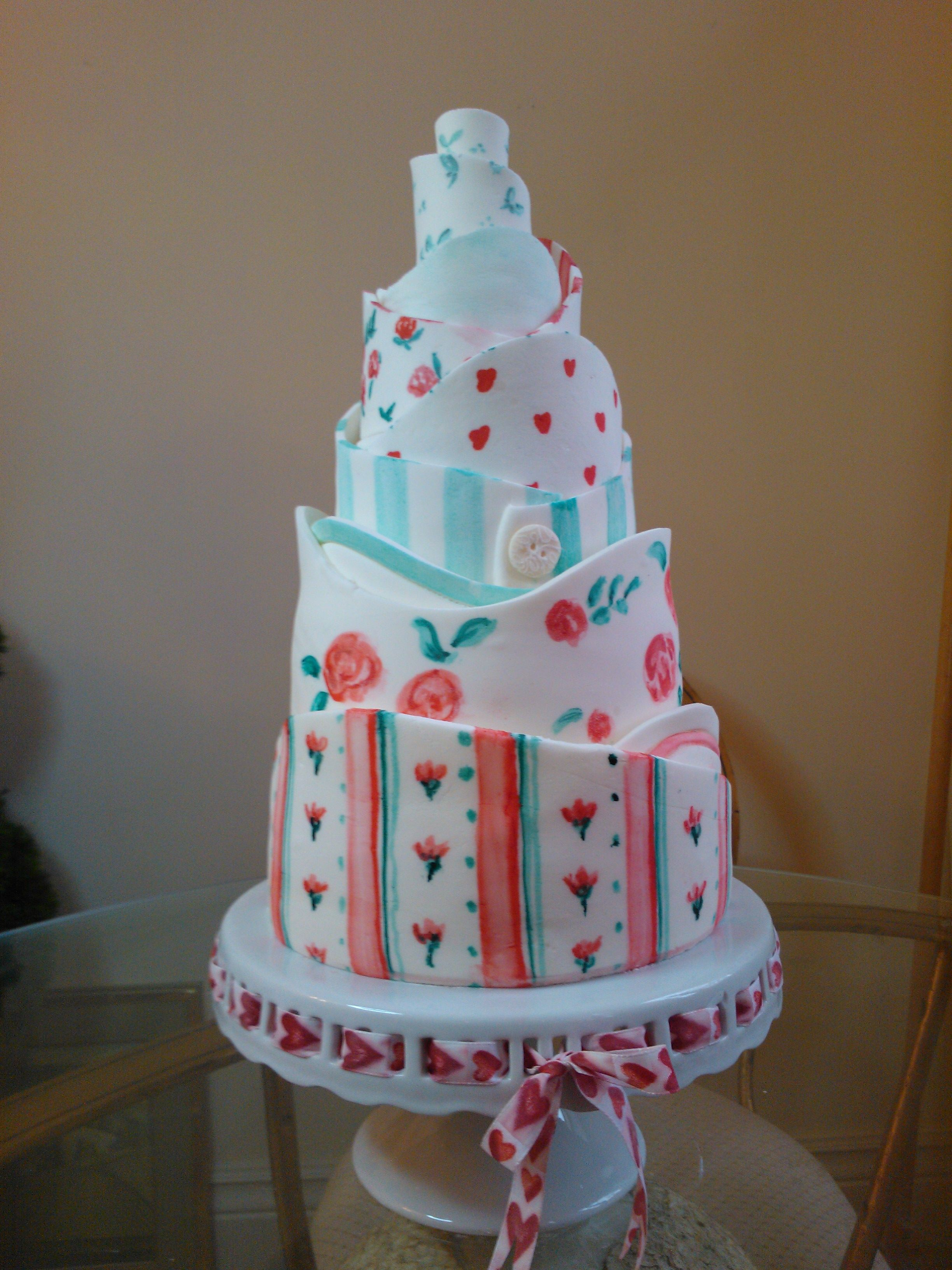 Wedding cake table decoration ideas  Kath Kidson inspired wedding cake  Table Decor u Party Ideas
