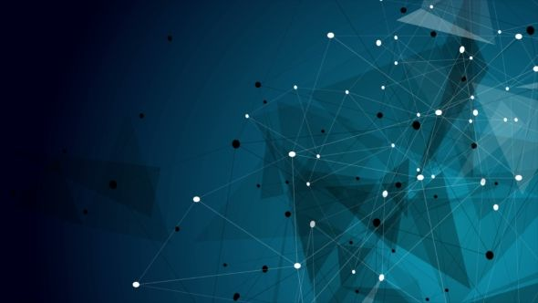Dark Blue Abstract Technology Low Poly Communication Motion Design