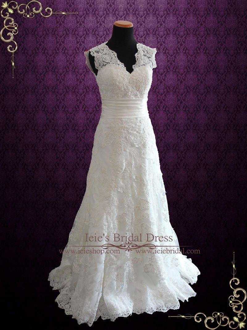 Vintage inspired lace wedding dresses  Ivory Vintage Style Lace Keyhole Back Wedding Dress with V Neck