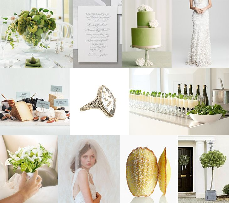 Crisp White & Green Budget Friendly Wedding Inspiration Board