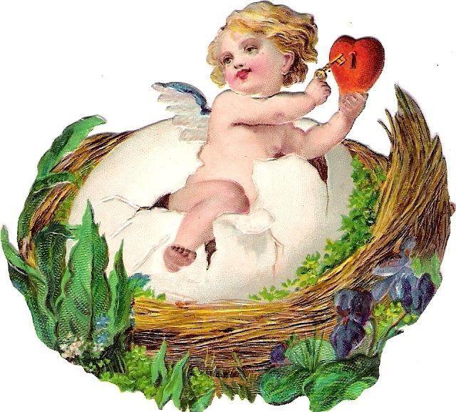 Oblaten Glanzbild scrap die cut  Ostern easter Ei egg Kind child Baby Nest