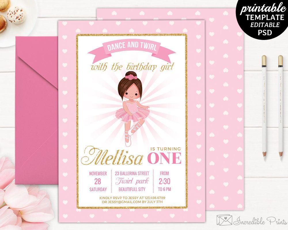 Ballerina Birthday Party Invitation Template. Tutu Birthday ...