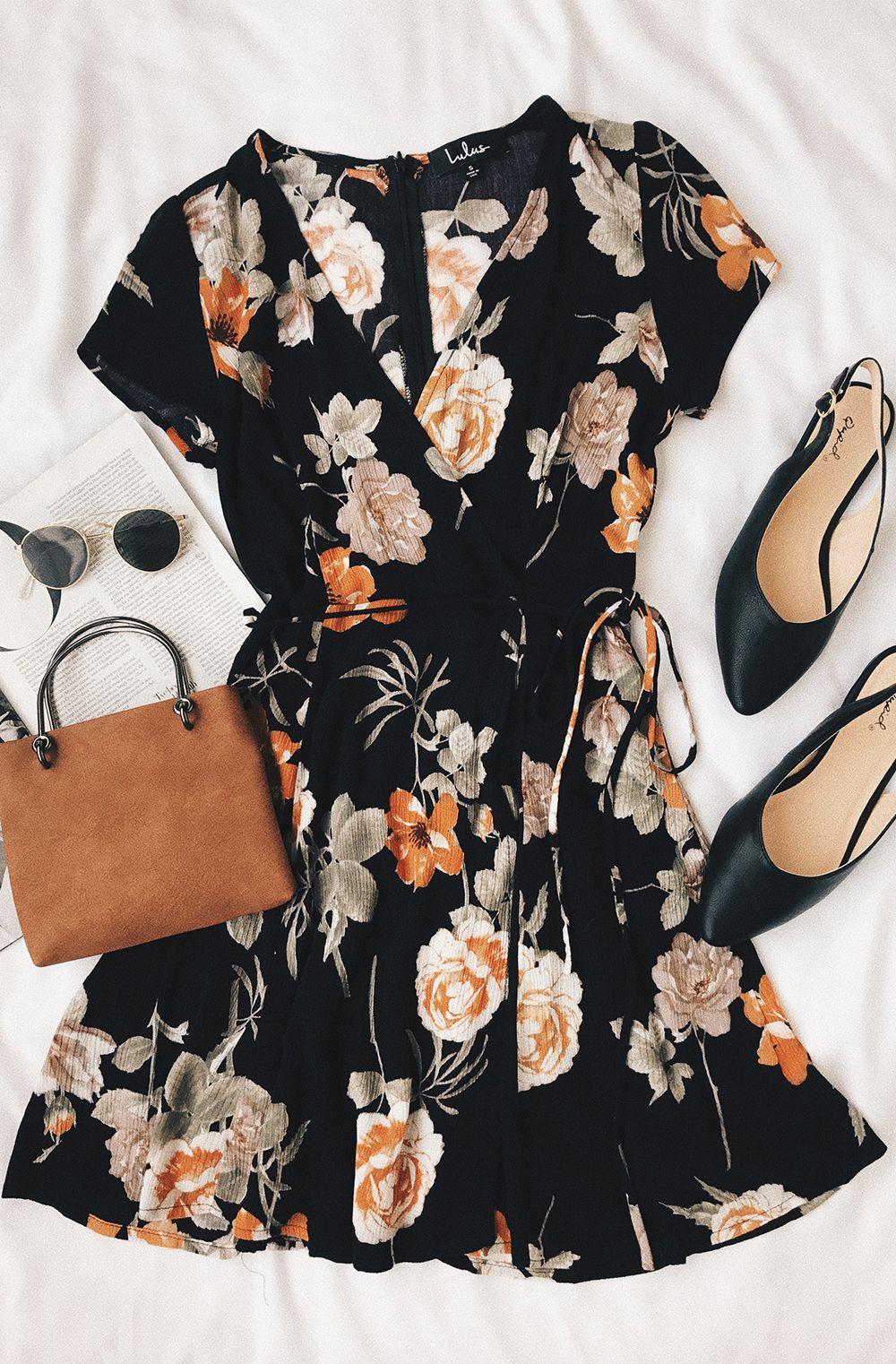 bf625990a93c9 Picturesque Love Black Floral Print Wrap Dress   Kates Closet ...