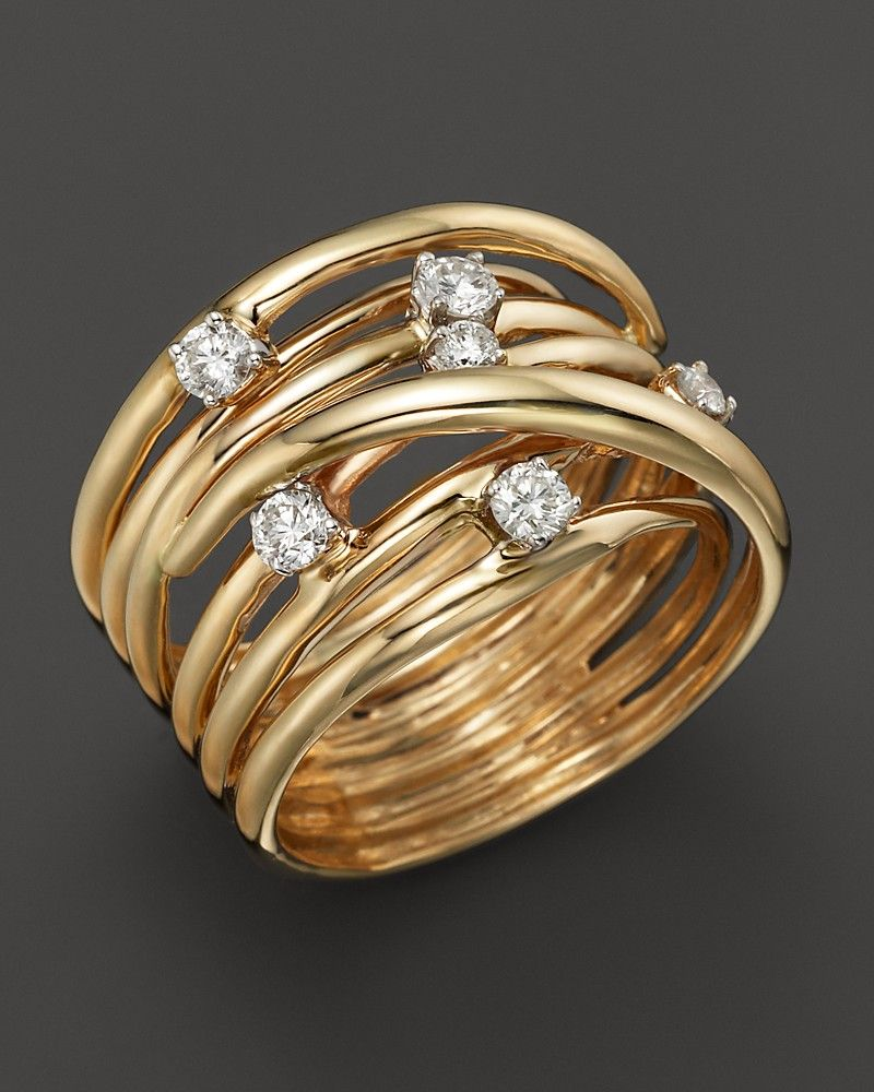 Bloomingdales Diamond Station Crossover Band in 14K Yellow Gold
