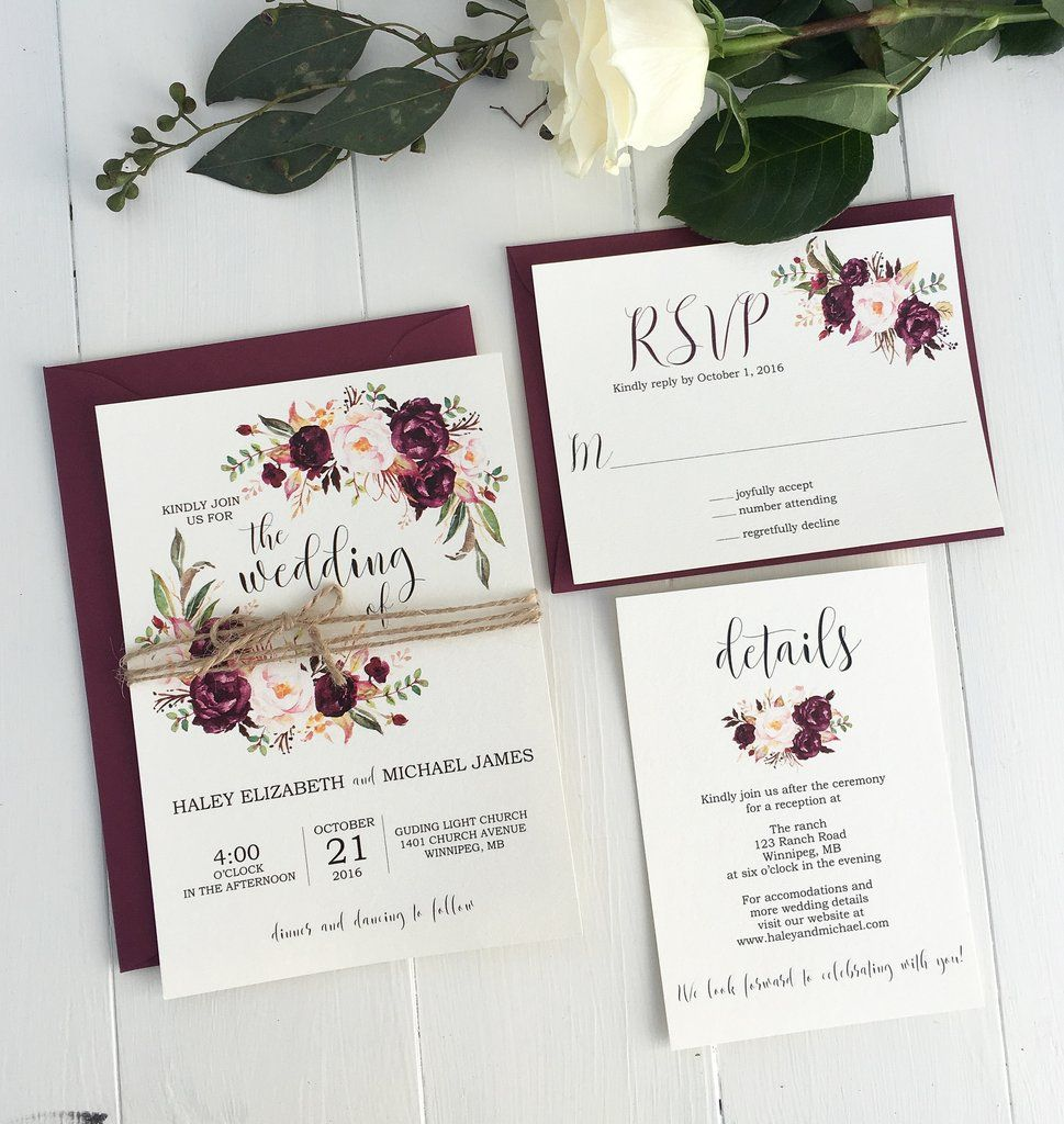 diy wedding invites rustic%0A Rustic Floral Wedding Invitation suite  marsala wedding is perfect for your  elegant  rustic boho