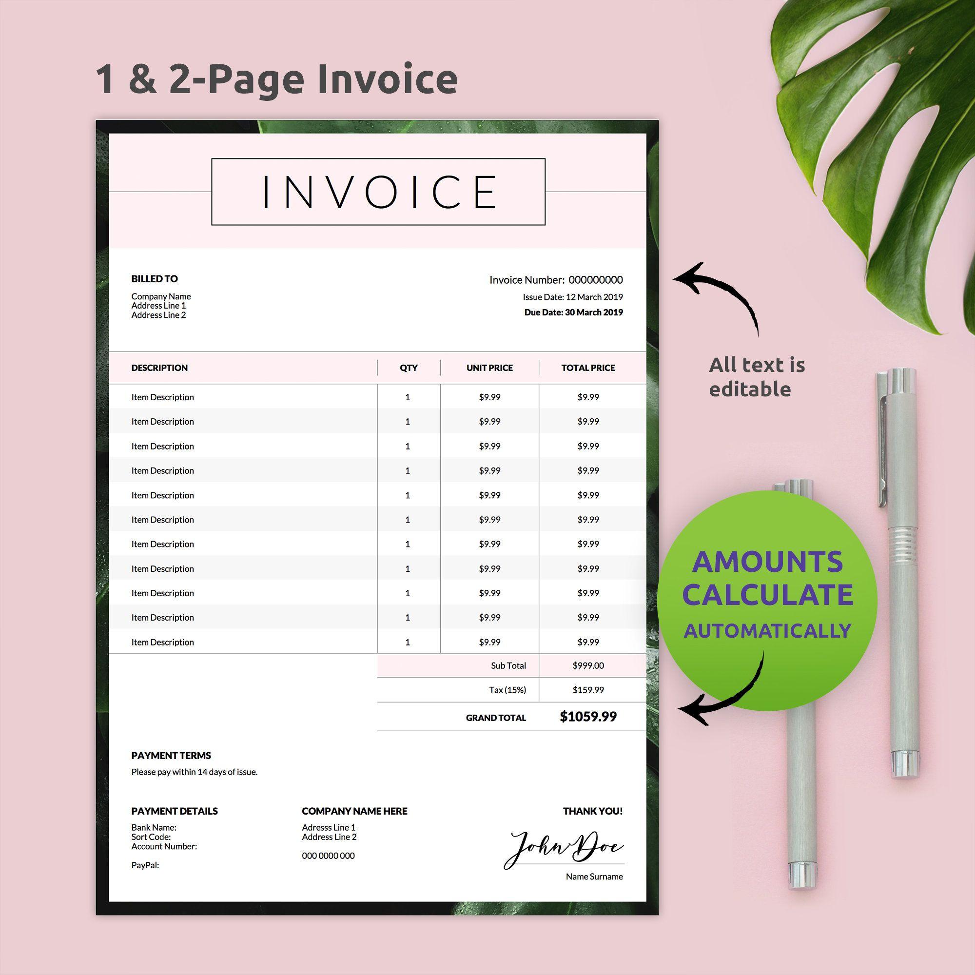 Auto Calculation Invoice Template Pdf Instant Download Invoice Template Order Form Template Printable Invoice