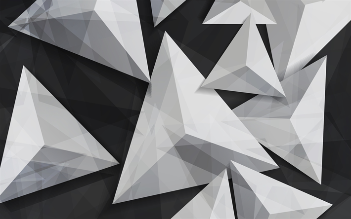 Download Wallpapers Triangles 4k 3d Art Geometry Geometric Shapes Gray Background Besthqwallpapers Com Geometric Shapes Hd Backgrounds Geometric