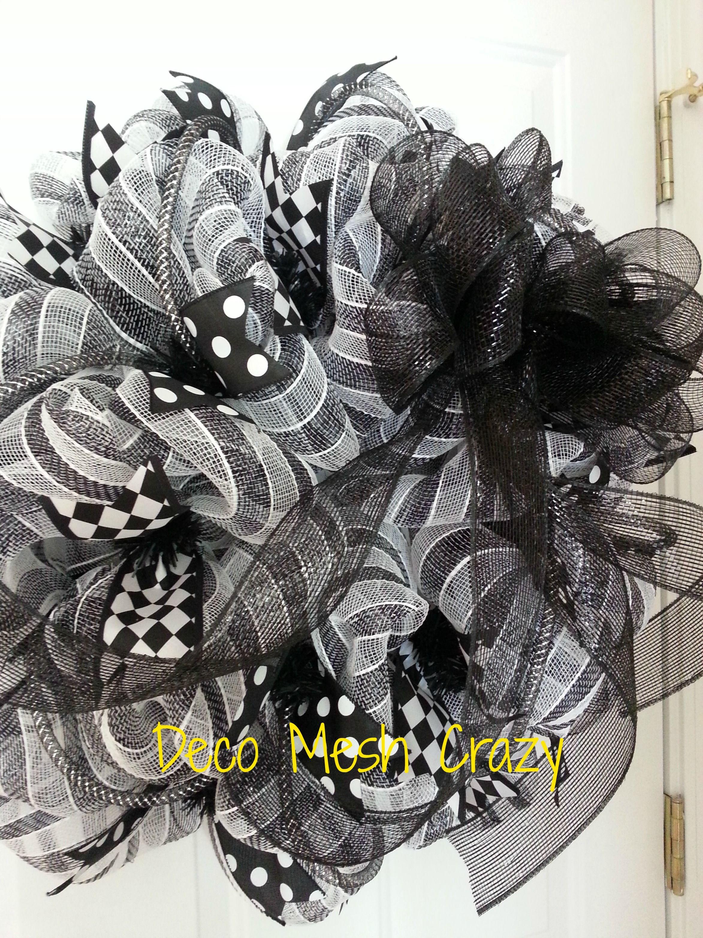 Black And White Deco Mesh Wreath Www Facebook Com