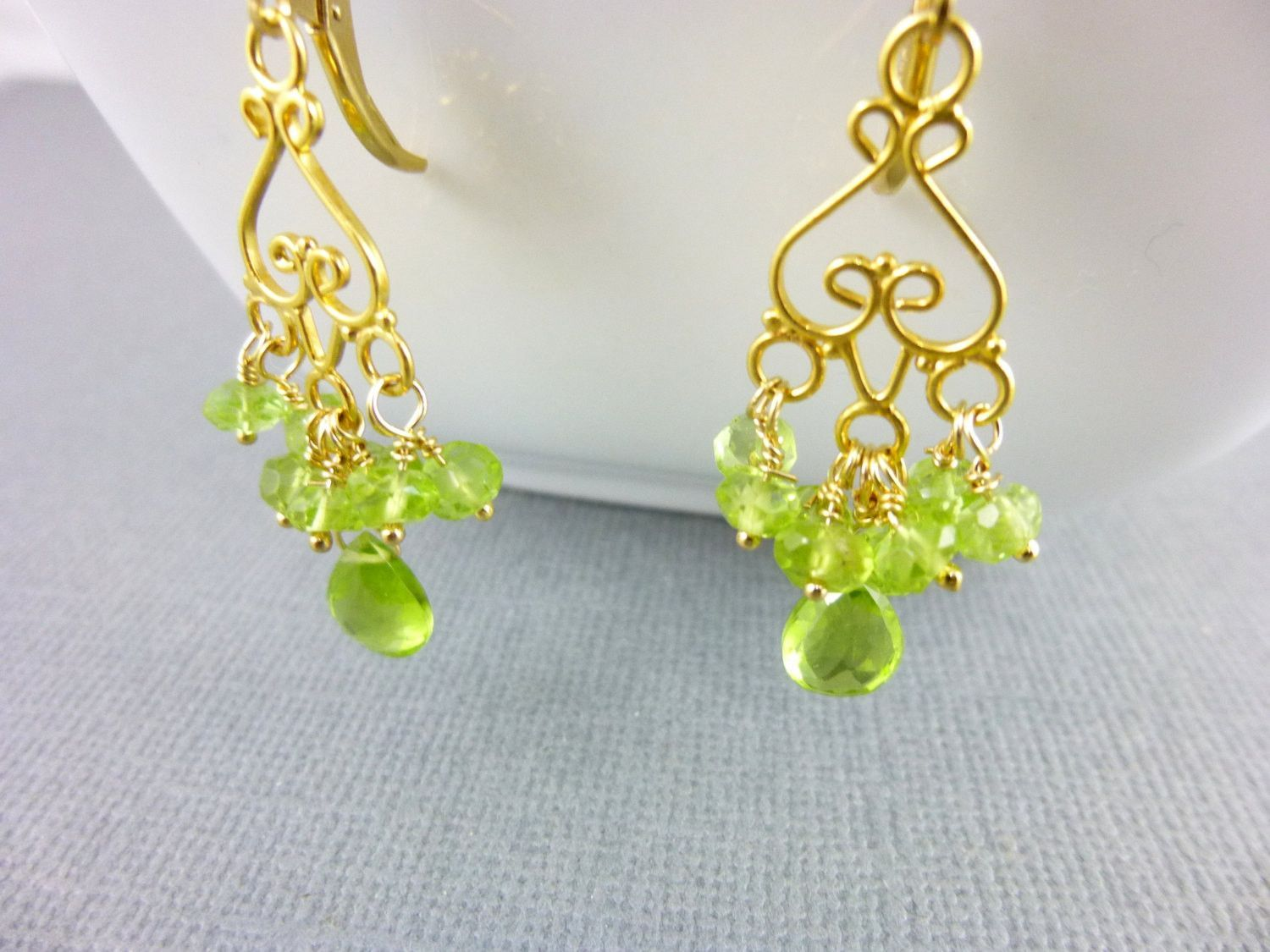 Peridot chandelier earrings wire wrapped peridot clusters 14k peridot chandelier earrings wire wrapped peridot clusters 14k gold fill chakra earrings mozeypictures Choice Image