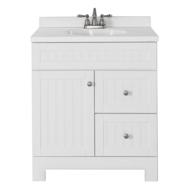 Image Of Shop Style Selections in Ellenbee White Bathroom Vanity with Cultured Marble Top at Lowe us