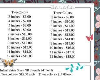 Image Result For Vinyl Decal Pricing Chart Cricut Ideas